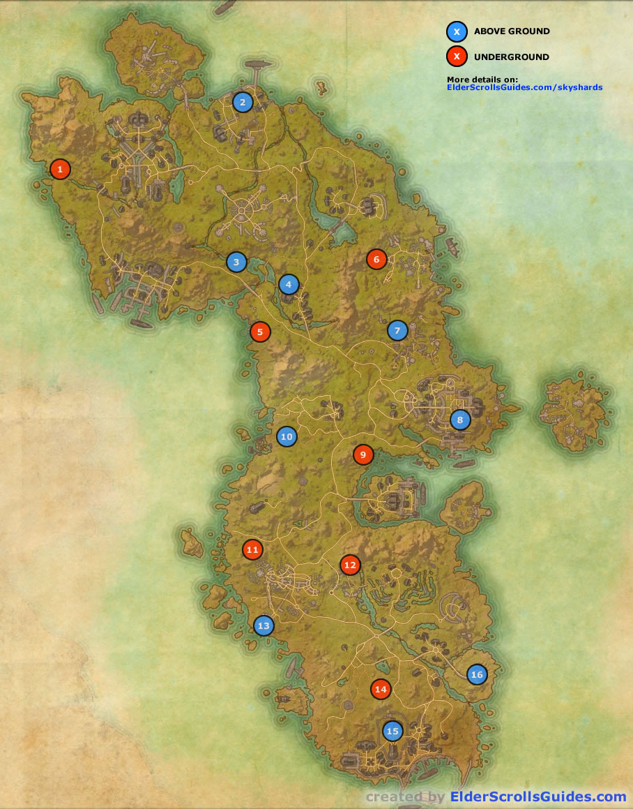 Blue icons indicate skyshards which are above ground, and red icons