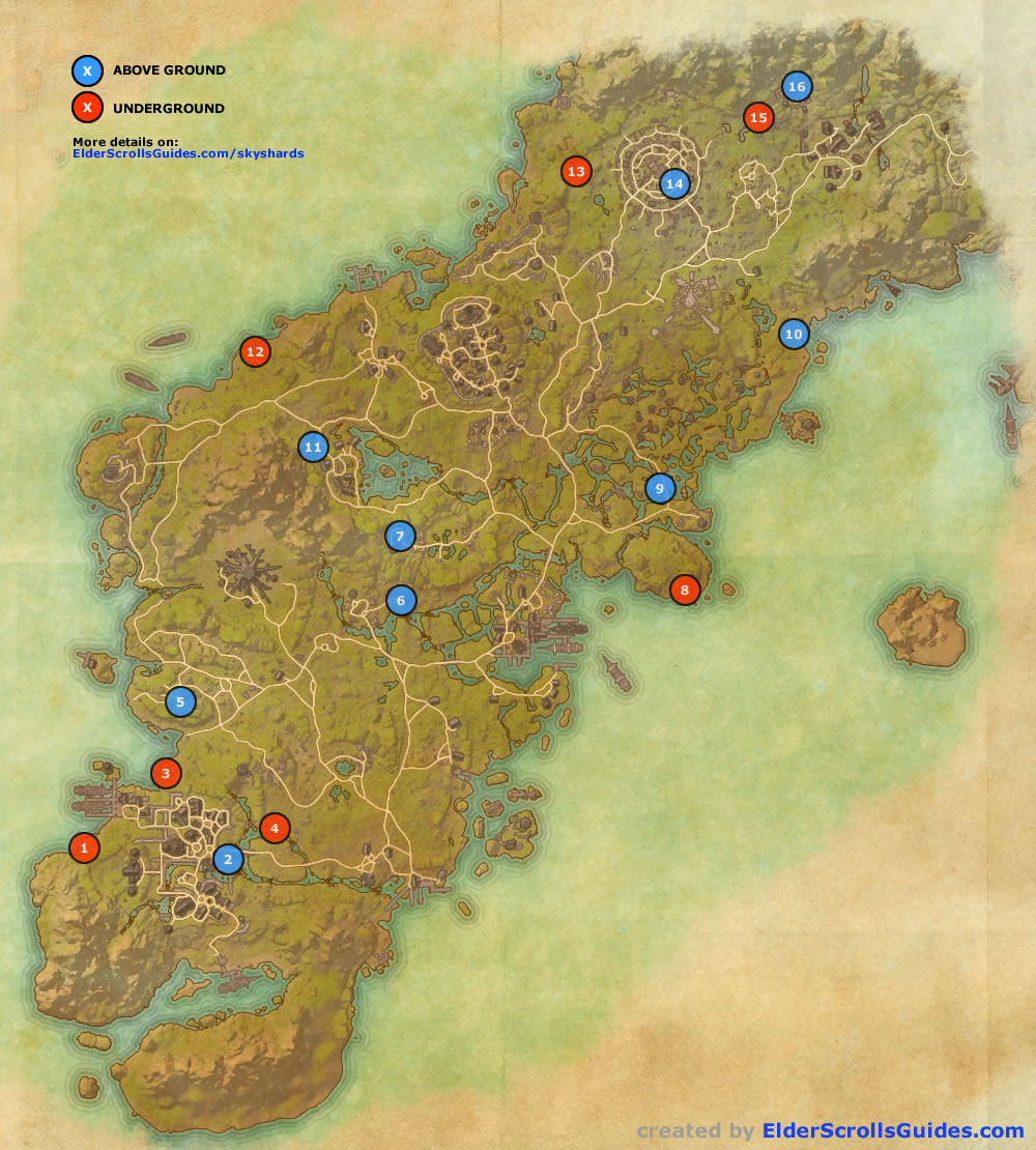 glenumbra skyshards map  elder scrolls online guides - glenumbra skyshards map