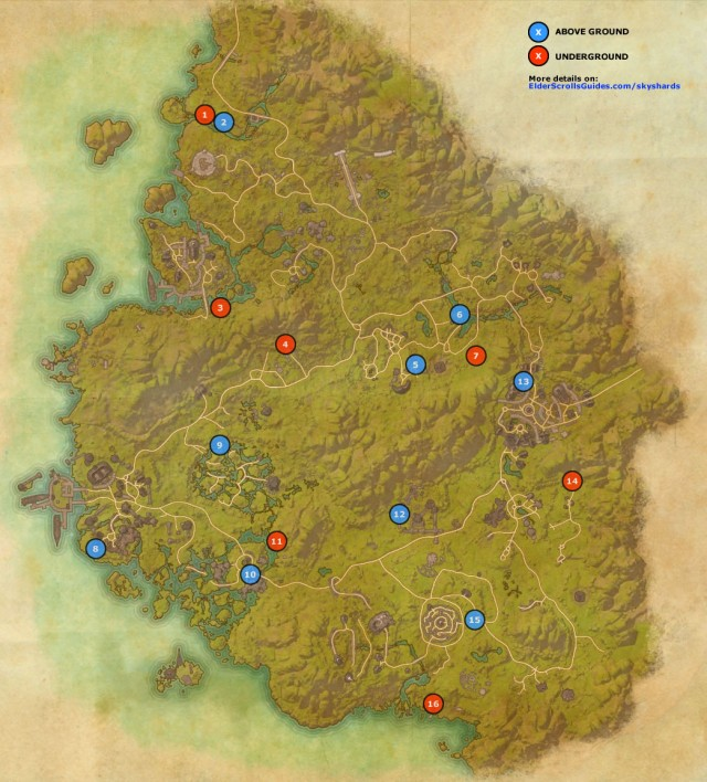 Greenshade Skyshards Map