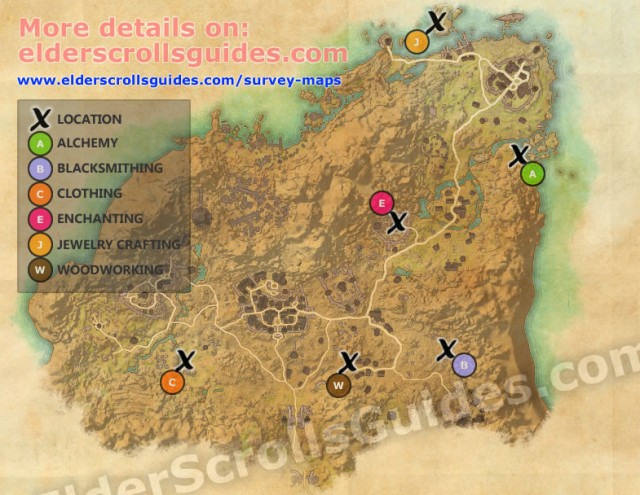 eso jewelry crafting station locations rivenspire survey report map elder scrolls guides 8109