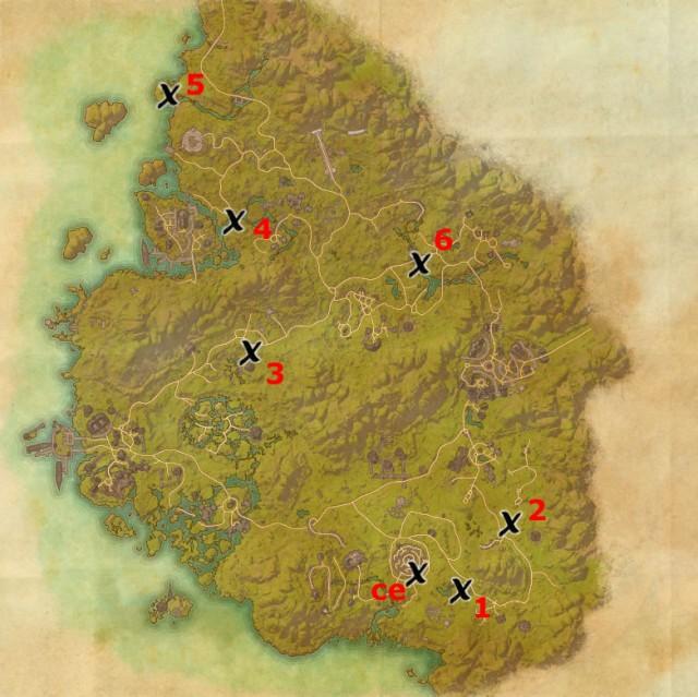 Greenshade treasure map locations