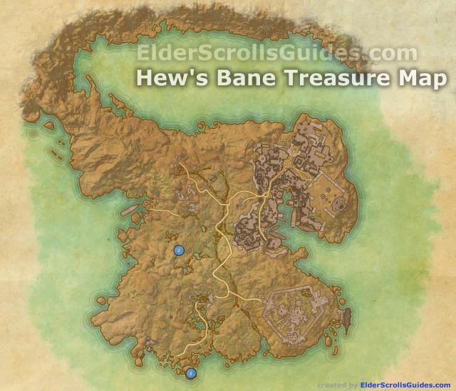 Hew's Bane treasure map locations
