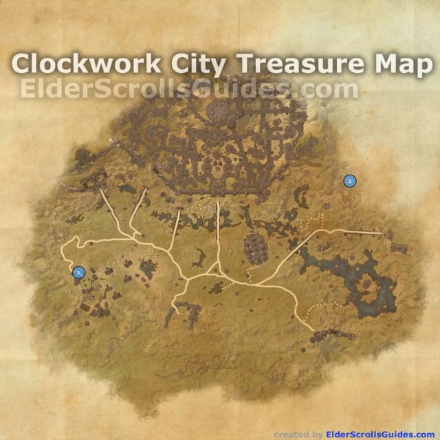 Clockwork City treasure map locations