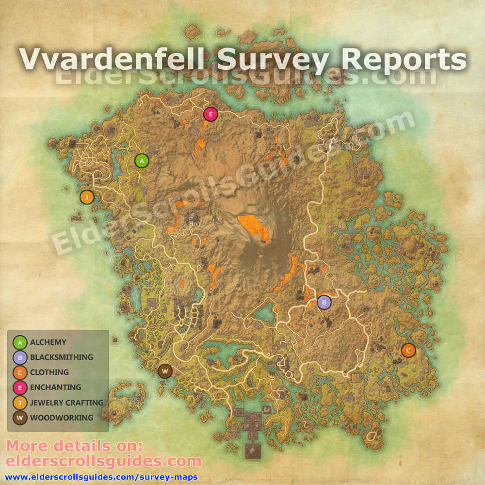 eso jewelry crafting station locations vvardenfell survey report map elder scrolls guides 3768
