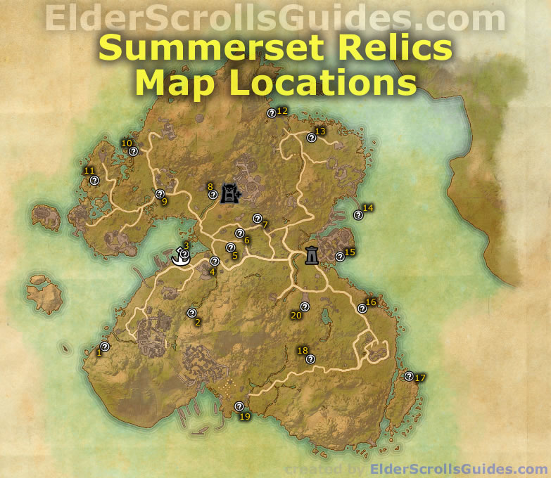 Summerset Relics Map