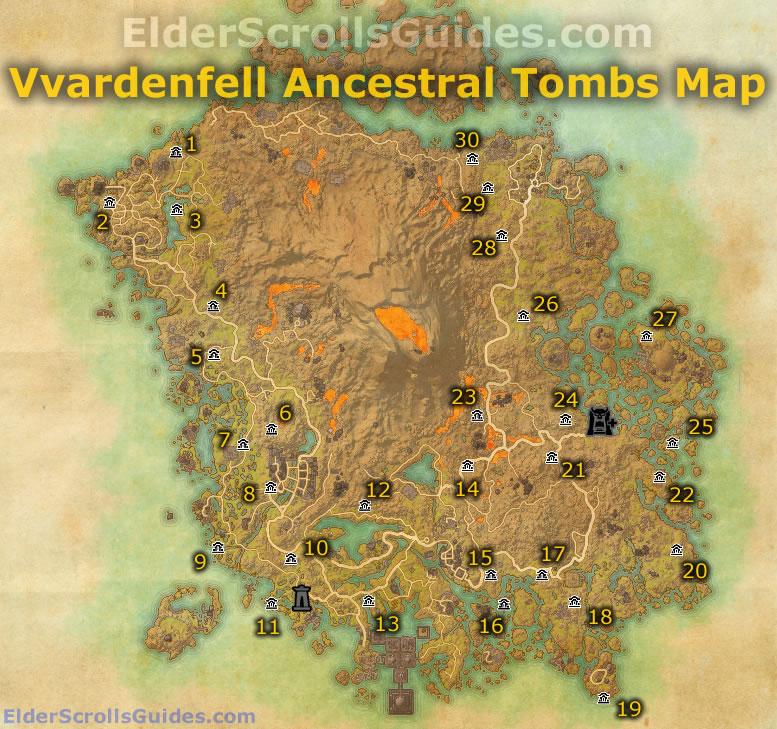 Vvardenfell Ancestral Tombs Map | Elder Scrolls Online Guides