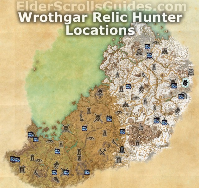 Wrothgar Relic Hunter Locations Map