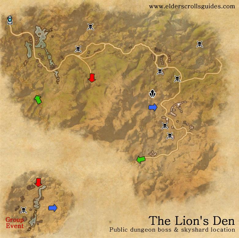 The Lion's Den public dungeon map | Elder Scrolls Online Guides