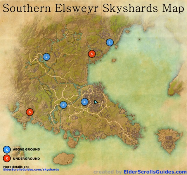 Southern Elsweyr Skyshards Map