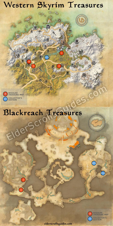 Western Skyrim & Blackreach treasure maps