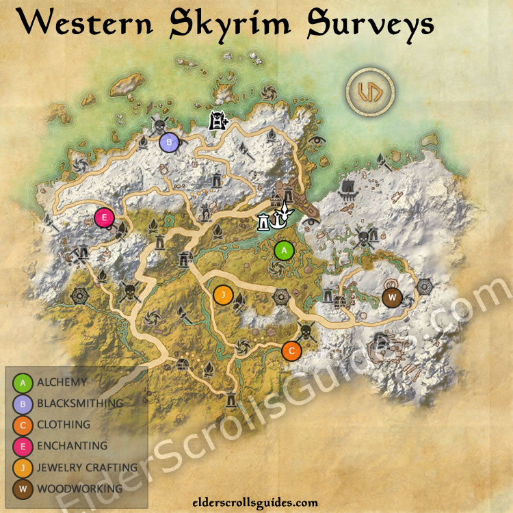 Western Skyrim Survey Map