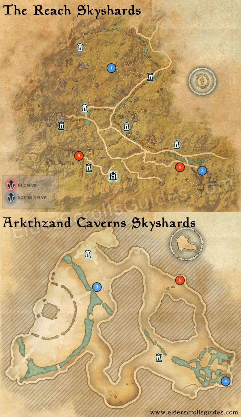 The Reach & Arkthzand Cavern Skyshards Map